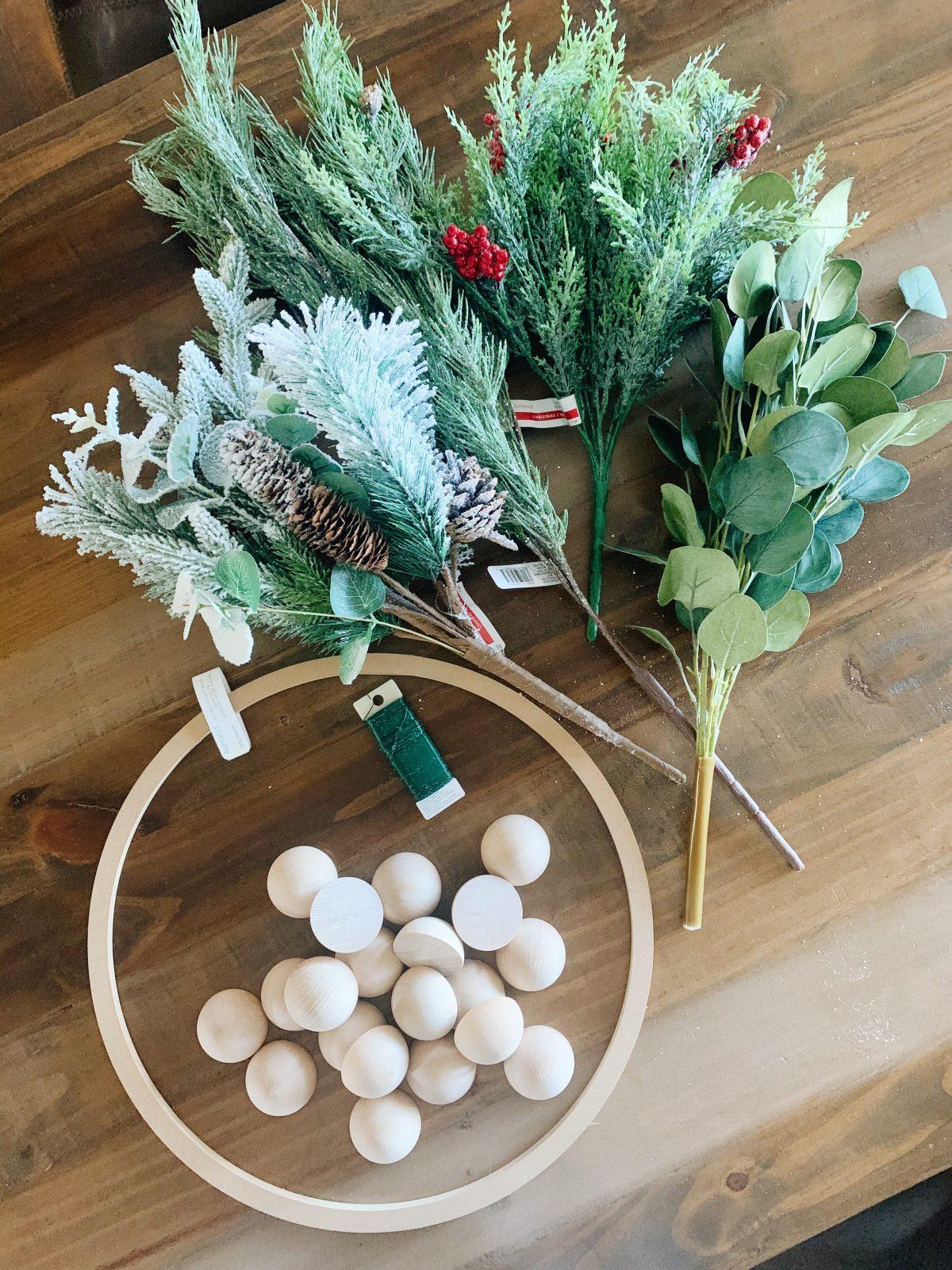 Wooden ball wreath DIY